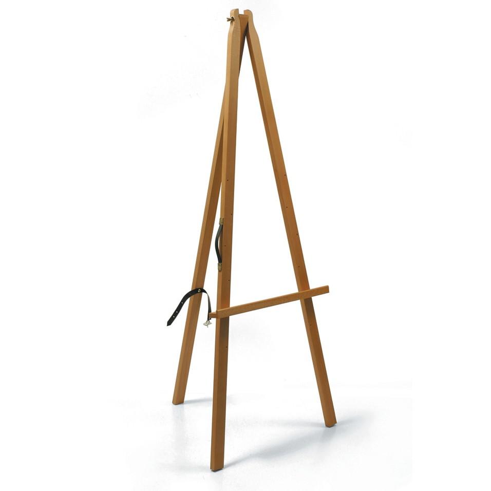 Cavalletto in legno per esposizione, con maniglia. Richiudibile.