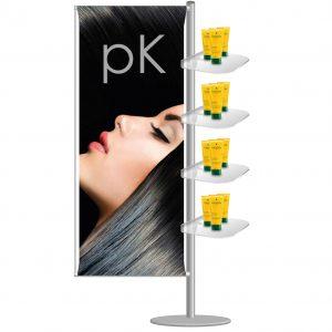 Espositore pubblicitario portabanner con 4 ripiani in plexi per oggettistica