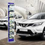 espositore porta depliant cars showroom