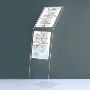 espositore in plexiglass doppia comunicazione