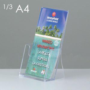 Porta depliant da banco in plexi, 1 tasca f.to 1/3A4.