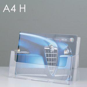 Porta depliant da banco in plexi, 1 tasca f.to A4 orizzontale.