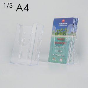 Porta depliant da banco/parete in plexi con supporti removibili,1 tasca formato 1/3 A4.