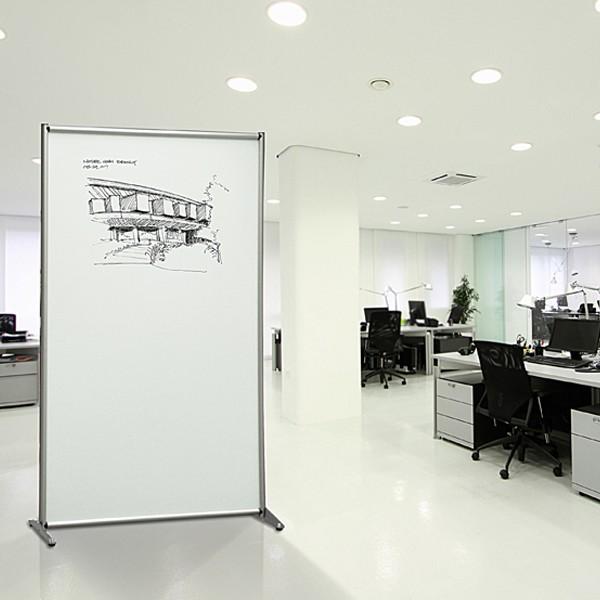 Pannello divisorio magnetico singolo a profilo tondo per uffici