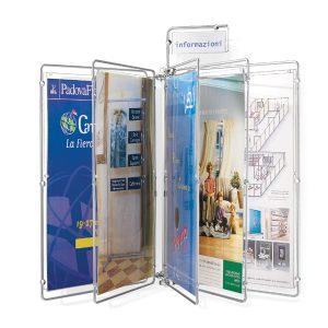 Espositore a libro da parete con pagine in plexiglass