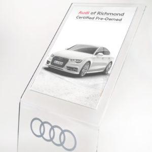 espositore porta comunicazione in plexiglass personalizzato con logo