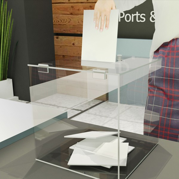 urna cubica in plexi per votazioni