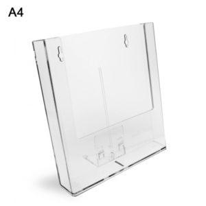 Porta depliant da banco/parete in plexi con supporti removibili,1 tasca formato A4.