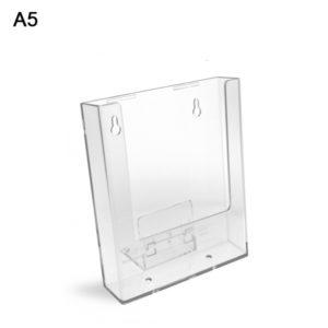 Porta depliant da banco/parete in plexi con supporti removibili,1 tasca formato A5.
