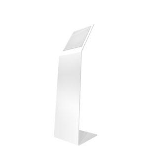 Leggio in metallo verniciato bianco con base a L da 8mm con tasca porta avvisi f.to A4 V